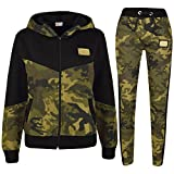 A2Z 4 Kids Unisex Tracksuit Kids Designer's A2Z Badged Camouflage Contrast Panel Hooded - T.S Camo 602 Green 11-12