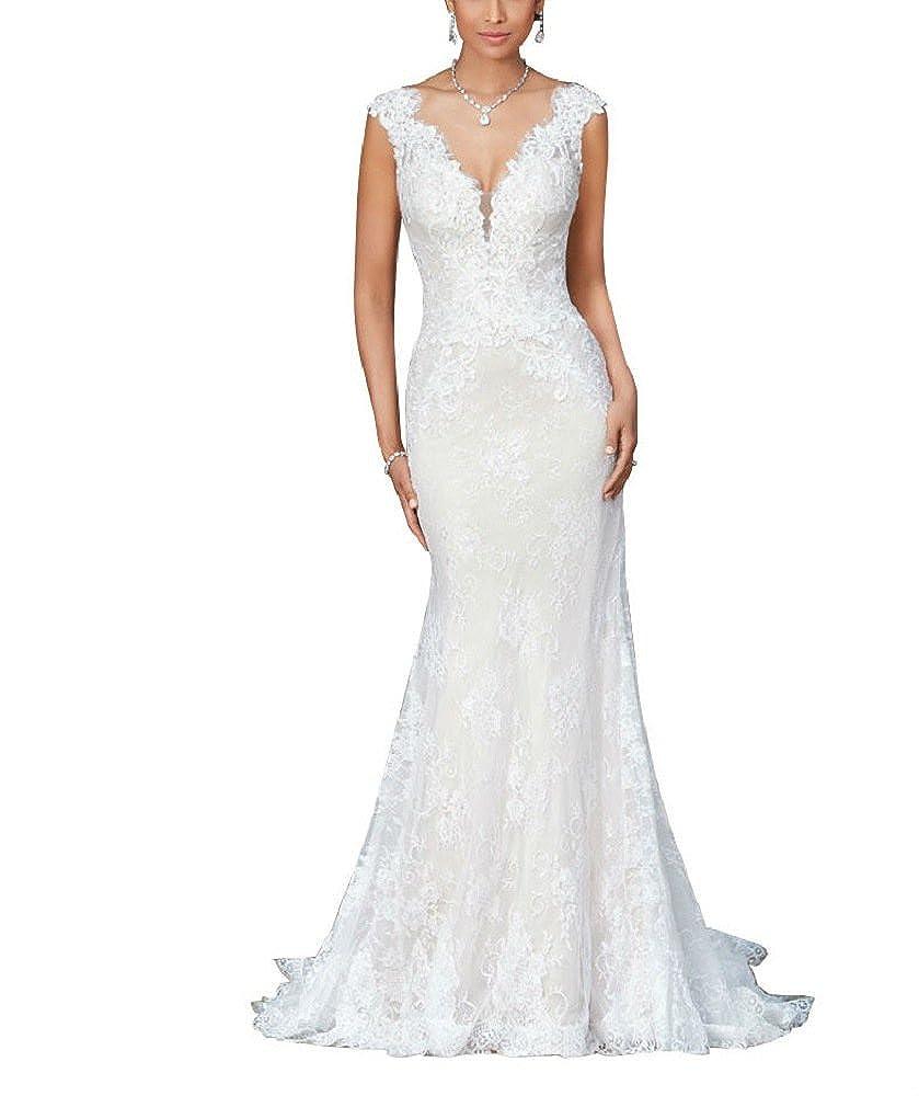 3cc7504fe62d Amazon.com: Mermaid Wedding Dresses for Bride 2018 V-Neck Lace Applique  Backless Bridal Gown Ivory Size 16: Clothing