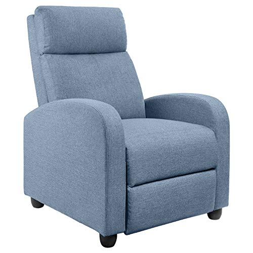 JUMMICO Fabric Recliner Chair Adjustable Home Theater Single Recliner Sofa Furniture with Thick Seat Cushion and Backrest Modern Living Room Recliners (Blue)