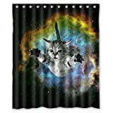 "60""(width)x72""(length)Galaxy Cat funny 100% polyester shower curtain"