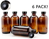 8-Ounce Amber Glass Bottles (6-Pack); Boston Round Bottles w/Polycone Phenolic Caps