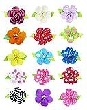 "HipGirl Girls Mini Bow Tie, Mini Pinwheel Hair Bow Clips, Barrettes (15pc 1.5"" Petal Flower Clips--Solid/Dots/Prints)"
