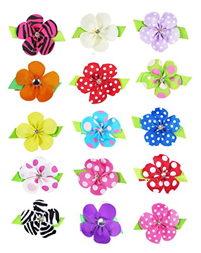 "HipGirl 15pc 1.5"" Petal Flower Hair Bow Clip,Barrette.Grosgrain Ribbon Alligator Clip For Girl Baby Teen Kid Toddler Adult.For Toddler Girls, Teens, Women; Assorted Beauty Accessories"