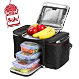 Image of RitFit Cooler&Warm Meal Insulated Lunch Bag with Snap Lid Containers and Ice Pack (Black)