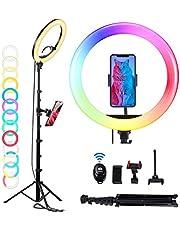 Ommo, RGB-led-ringlamp met statief, 160 cm, dimbare selfie led-ringlamp met lichtstandaard, telefoonhouder, ringlicht-afstandsbediening voor selfies, video, chat, live stream, YouTube, make-up, tiiktok