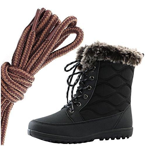 Daily Shoe Mujeres Cómodo Toe Toe Flat Flat High Eskimo Winter Fur Botas De Nieve, Marrón Claro Tostado, Negro Pu, 13 2a (n) Us