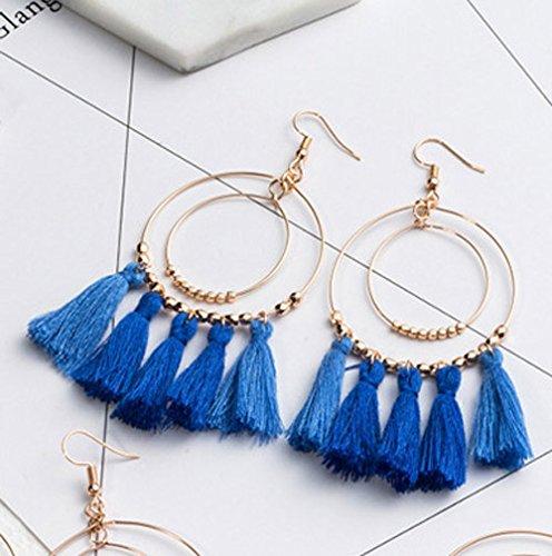 Bohemia Long Tassels Dangle Earrings Girls Double Circle Thread piercing Navy