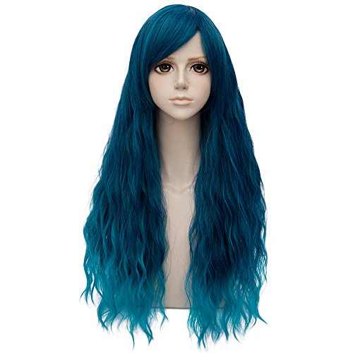 Long Turquoise Wig (Turquoise Blue Ombre Long 28 Inches Curly Heat Resistant Cosplay Wig Fashion Lolita Women's Party)