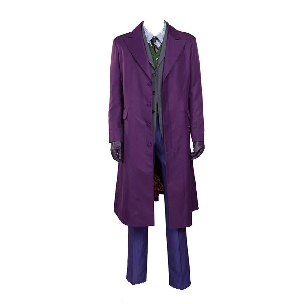 Batman The Dark Knight Joker Suit Full Set Gloves Halloween Cosplay Costume