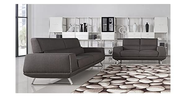 Amazon.com: Divani Casa Rumex Modern Grey Fabric Sofa Set ...