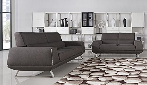 Divani Casa Rumex Modern Grey Fabric Sofa Set