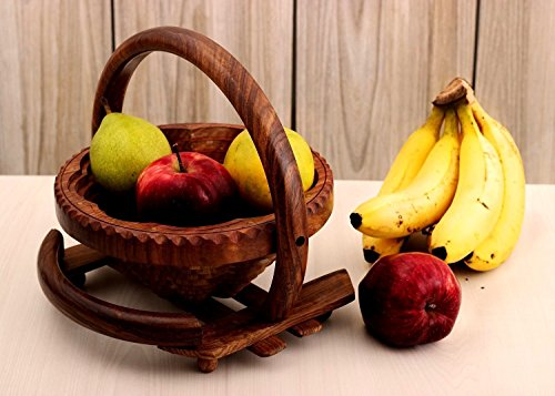 Store Indya Impressive Wooden Collapsible Fruit Basket with Handle, (10 x 10 x 9 inches)