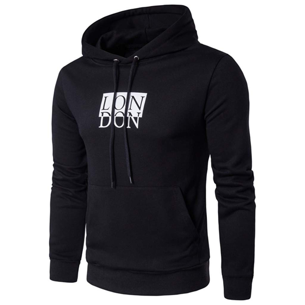 Unisex Men Hooded Sweatshirt Long Sleeve Letter Print Pullover Tops with Pocket (Asian Size:XL, Black)