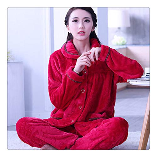Angshanxia Autumn Flannel Women Pajamas Sets Female Turn-Down Collar Full  Sleepwear for Women s Pajamas fc9e80ced