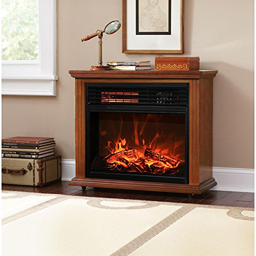 XtremepowerUS Infrared Quartz Electric Fireplace Heater Oak Finish with Remote Controller