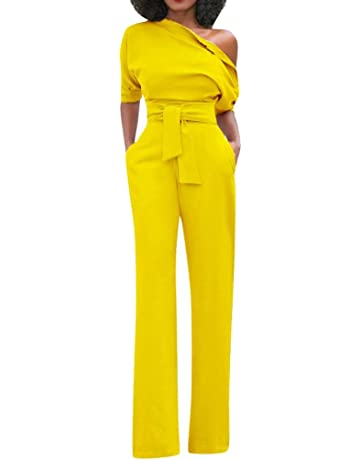 Lefthigh Womens Off-Shoulder Trousers,High Waist Womens Sexy Solid Short Sleeve with Belt
