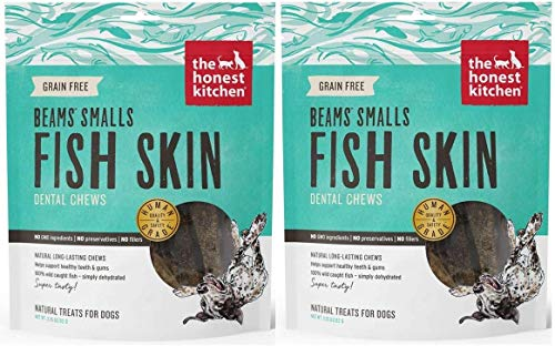 The Honest Kitchen Beams Fish Skin Treat - Dehydrated Grain Free Fish Skins Dog Chew, Smalls 6.5 oz -