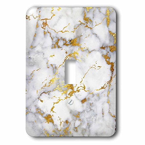 3dRose Uta Naumann Faux Glitter Pattern - Art print of White Gold Marble Agate Gem Mineral Malachite Quartz - Light Switch Covers - single toggle switch (lsp_275047_1)