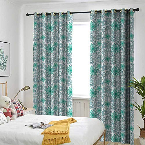 Decorative Curtains for Living Room Shading Insulation Cable Ring Screen 2 Panel Turquoise,Doodle Style Flower Sketch Pattern Funky Abstract Modern Art Linework,Sea Green Teal White