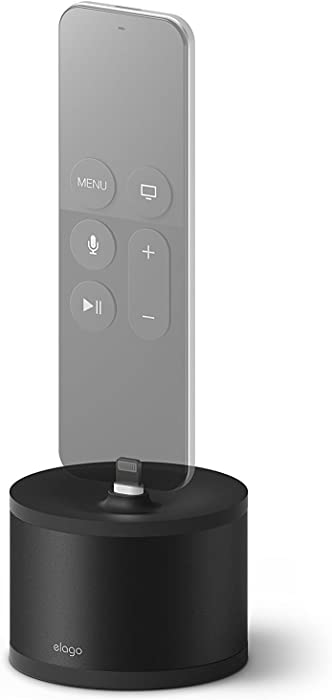 elago D Stand Charging Station for Apple Products (Black) - Charging Dock for Apple TV Remote, iPhone, AirPods, iPad Mini, Apple Pencil, Keyboard and Magic Mouse [Premium Aluminum][Cable Management]