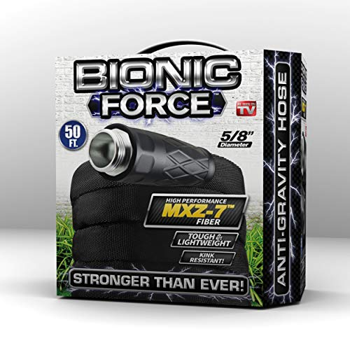 Bionic Force Garden Hose - Flexible, Lightweight Heavy-Duty Garden Hose Made of High Performance MXZ-7 Fiber with Crush Resistant Aluminum Fittings - 5/8 in. Dia. x 50 ft, As Seen on TV