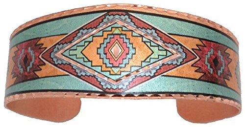 Copper Cuff Wrist Bracelet Hopi Go Pattern Southwest Native Indian Design Origin.