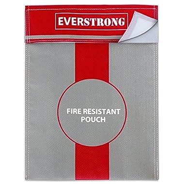 Fire Resistant Document Bag 15'' by 11'' Heavy Duty Fiberglass - Retardant Thread - Fireproof Safe Storage Pouch Money / Bank File / Passport / Legal Documents - Retardant Envelope Heat Protection