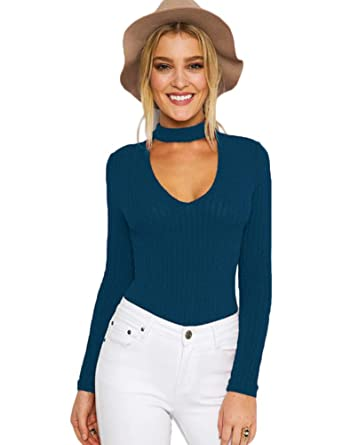 e930928f15259 Amazon.com  Cuihur Womens Long Sleeve Bodysuit Ribbed Kintted V Neck Bodycon  Body Suit  Clothing