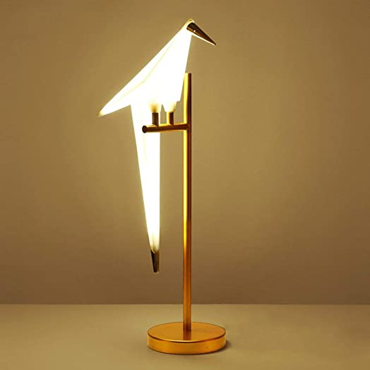 Thousand Paper Crane Table Lamp,Nordic Design of Modern Desk Lamps with PVC lampshade and Gold Metal lamp Body Button Control Switch for Bedroom Living Room Modern Office Kids
