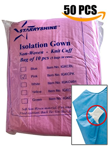 Dental Medical Latex Free Disposable Isolation Gowns Knit Cuff 50 PCS Non Woven | Fluid Resistant (PINK)