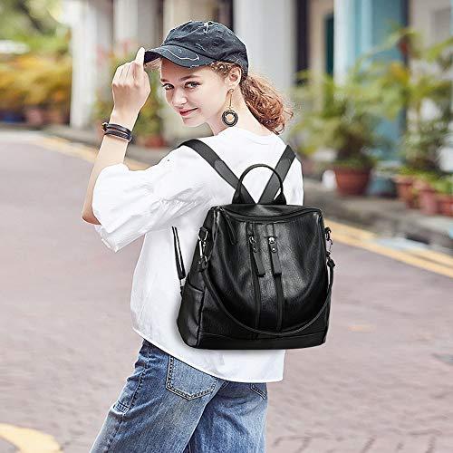 Aigoode Wasserdichte Damenrucksack Ledertasche Schultasche, Multi-Pocket-Rucksack Im College-Stil Mit Großer Kapazität Kann Einschultrig Sein (Schwarz).