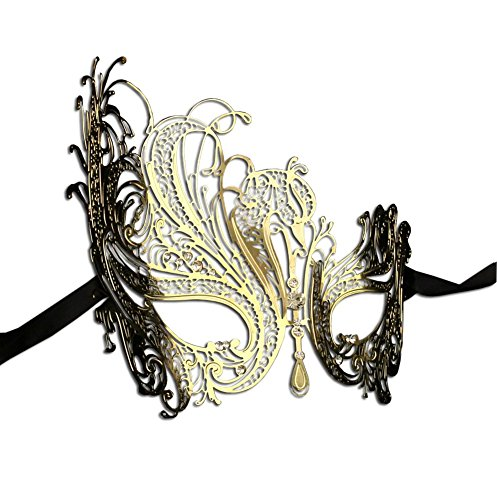 Luxury Mask Women's Swan Metal Filigree Laser Cut Venetian Masquerade Mask, Gold/Clear Stones, One (Gold Mardi Gras Mask)