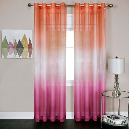 naturally home Rainbows and Sunshine Ombre Sheer Window Curtain Panel (52