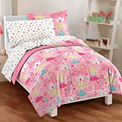 Dream Factory Pretty Princess Ultra Soft Microfiber Girls Comforter Set, Pink, Twin