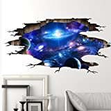 3D Large Removable Sea Beach Vinyl Wall Decal Sticker for Dining Room, Bedroom,Window (Blue Galaxy (60x90cm))