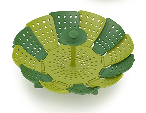 (Joseph Joseph 40023 Lotus Steamer Basket for Steaming Food and Vegetable Folding Non-Scratch BPA-Free, Green)