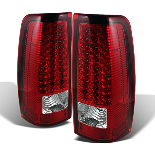For 99-02 Chevy Silverado 09-03 GMC Sierra Pickup Truck Red Clear G2 LED Tail Lights Brake Lamps Pair -