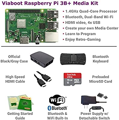 7b61e1edb98 ... Viaboot Raspberry Pi 3 B+ Deluxe Kit — Official 16GB MicroSD Card,  Official Rasbperry Pi ...