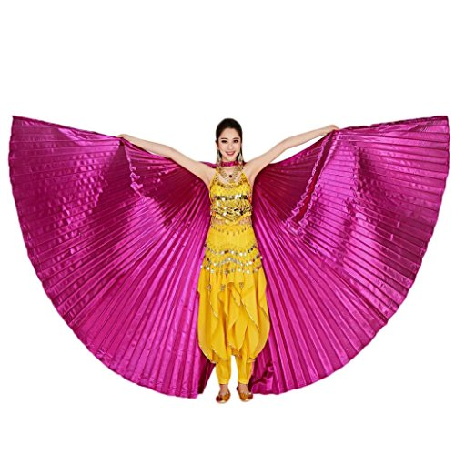 Fairy Costume India Wings (Doinshop Women's Egypt Belly Dance Costume 360 Degrees Bifurcate Isis Wings No Sticks (Free Size, Hot)