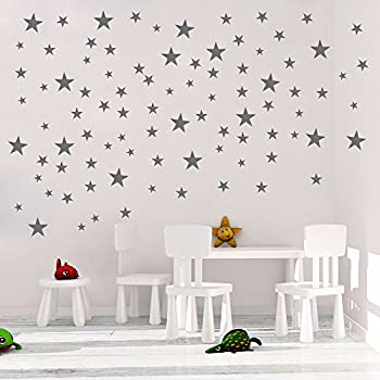 DCTOP Stars Wall Decals (124 Decals) Wall Stickers Removable Home Decoration  Easy To Peel Stick Painted Walls Metallic Vinyl Polka Wall Decor Sticker  For ...