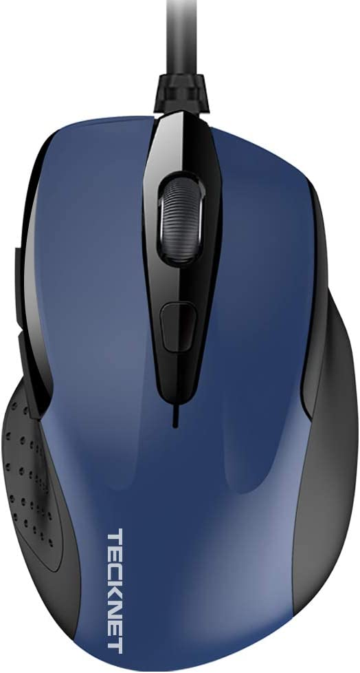 TECKNET New 6-Button USB Wired Mouse Side Buttons, Optical Computer Mouse 1000/2000DPI, Ergonomic Design, 5ft Cord, Support Laptop Chromebook PC Desktop Mac Notebook (Blue)