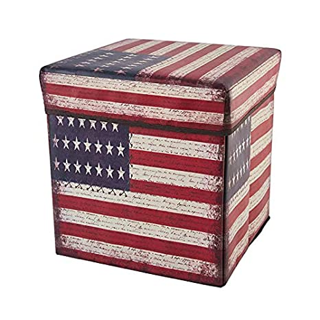 Folding Wooden 15 Inches Juvale Faux Storage Cube//Ottoman Foot Rest with American Flag Print Leather