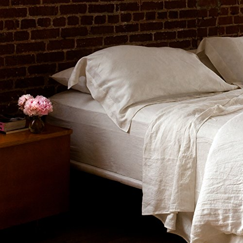 Huddleson Ivory Vintage Washed Pure Italian Linen Sheet Set