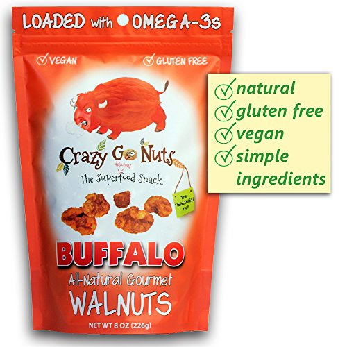 Crazy Go Nuts Flavored Walnuts & Healthy Snacks: Gluten Free, Vegan, Low Carb + Keto Snacks, 8oz - Buffalo