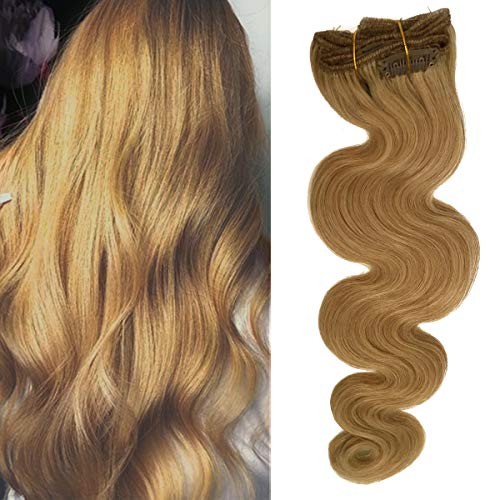 Double Weft Curly Clip in Remy Human Hair Extensions Strawberry Blonde #27 20inch Long Soft Body Wave Hair Pieces for Women 70g Full Head