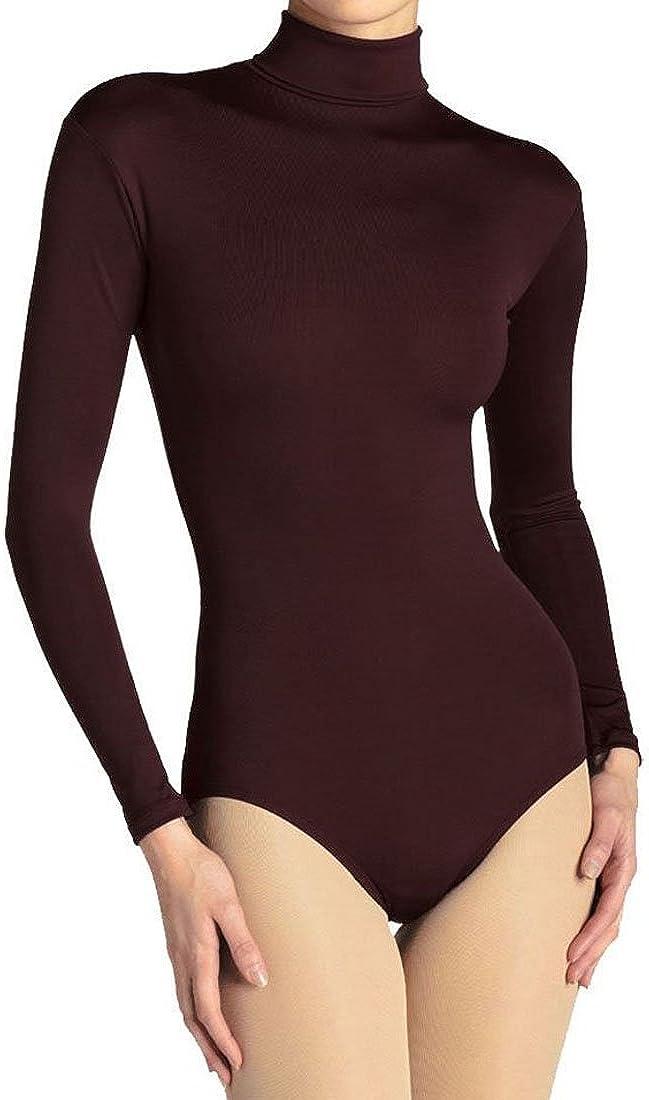 elegance1234 Ladies Womens Turtleneck Long Sleeve Cotton Leotard//Bodysuits