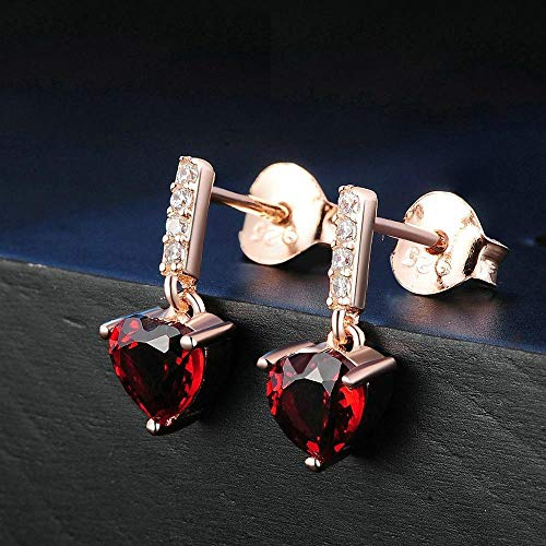 Rosa Cuori Nuovo Set Relddd Oro Gioielli Gioiello Pendenti Colore Granato Naturale Orecchini Con SvwavxR