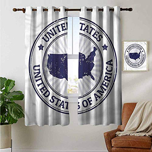 fengruiyanjing Unique Fashion Design Style Customized Blackout Curtains, USA Map, Federal National Symbol 63