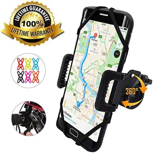 TruActive - Premium Edition! - Bike Phone Mount Cell Phone Holder for Bike - Universal Fit, Motorcycle Phone Mount and Bike Phone Holder - 6 Color Bands - Any Phone or Handlebar - Tool Free Install!