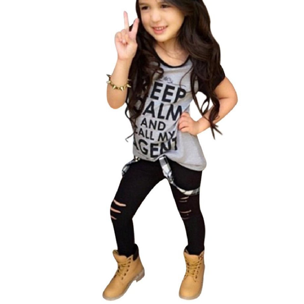 Sannysis Kleinkind -Mädchen-Ausstattungs-Kleidung-Druck-T-Shirt Tops + Long Pants amonfineshop